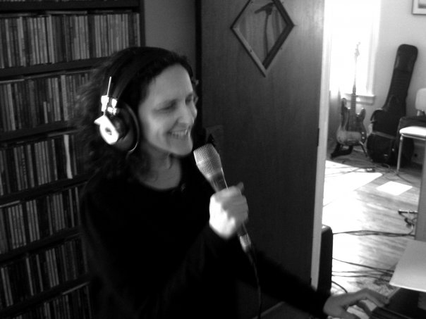 Rebecca Turner recording Slowpokes in the studio